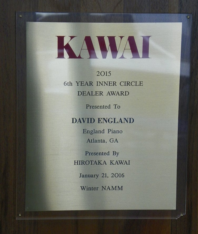 Kawai 2015 6th Year Inner Circle Dealer Award | England Piano