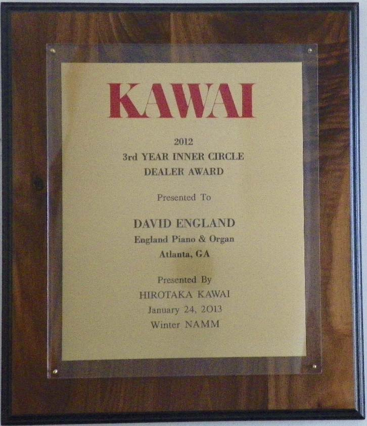 Kawai piano inner circle award england piano 2012