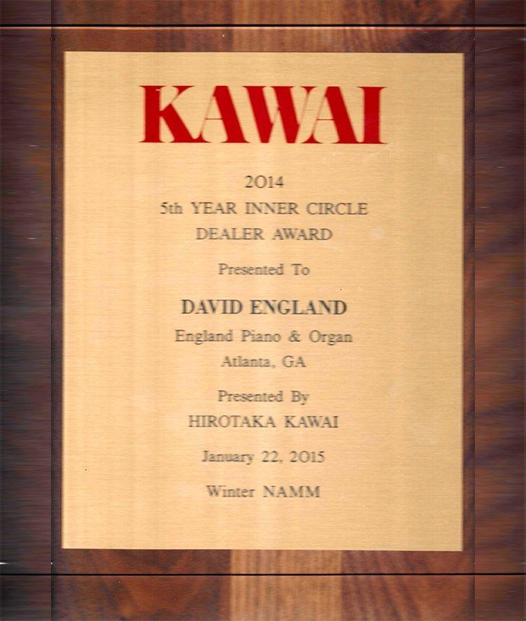 Kawai 2014 6th Year Inner Circle Dealer Award | England Piano