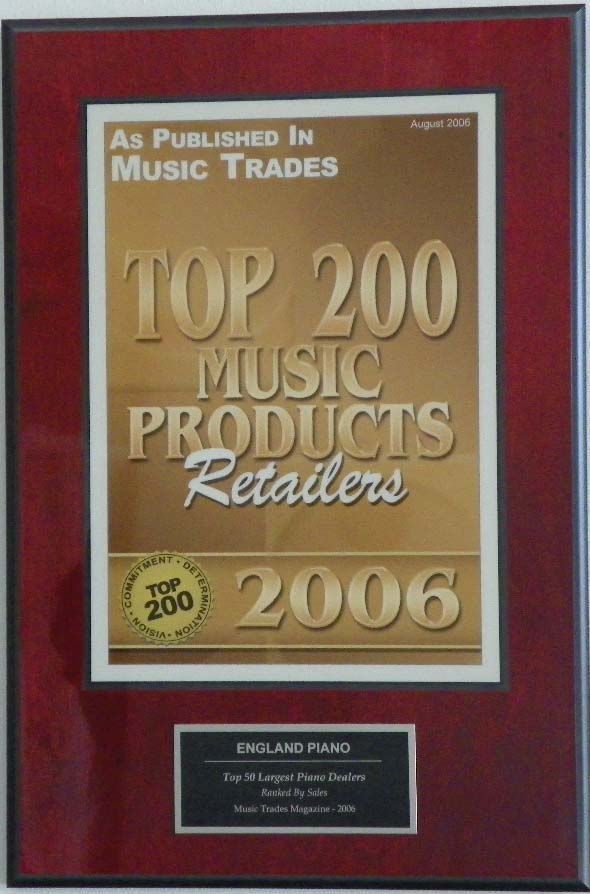 Music Trades Award Top Retailers 2006 | England Piano