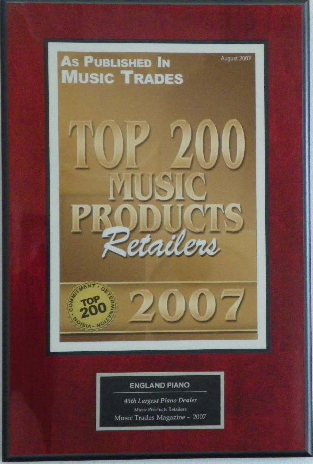 Music Trades Award Top Retailers 2007 | England Piano